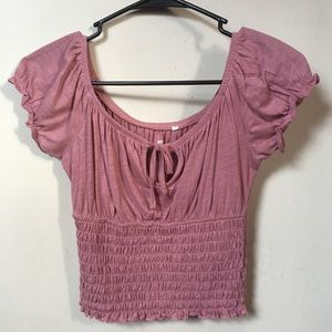 Me to We plum ruffle smocked crop top